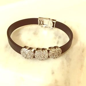 Jewelry - 2x black bracelets with silver heart charms